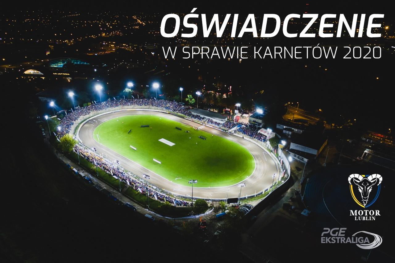 Oświadczenie Zarządu Klubu Speed Car Motor Lublin w sprawie karnetów