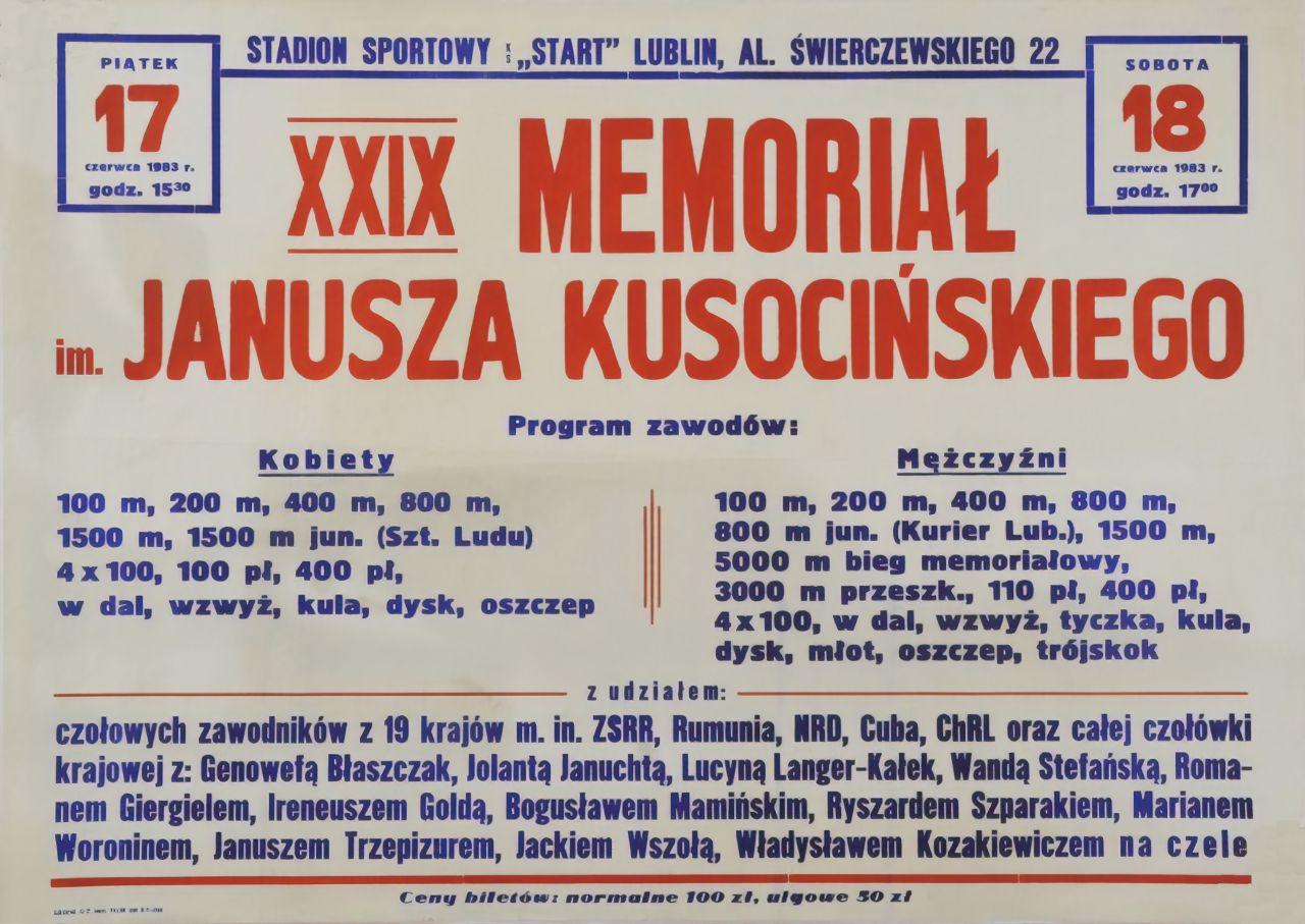 Memoriał Janusza Kusocińskiego. Lublin 1983