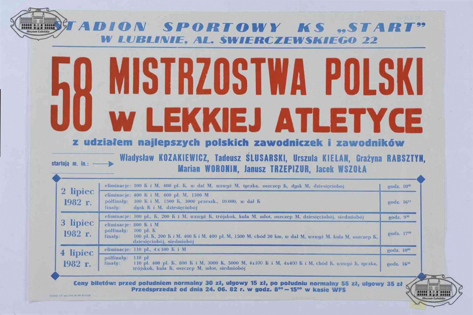 58. Mistrzostwa Polski Seniorów w Lekkoatletyce Lublin 1982