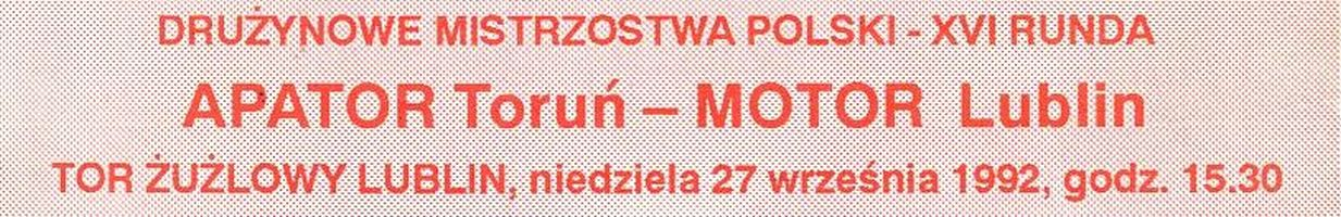 Z archiwum Centrum Historii Sportu w Lublinie: program meczu żużlowego Motor Lublin - Apator Toruń z 27 września 1992 r.