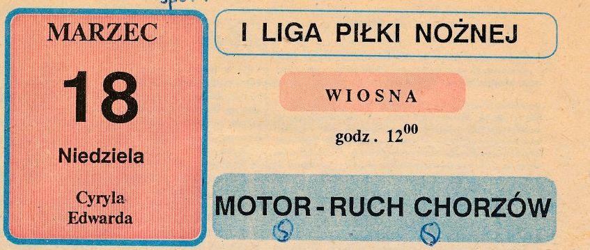 Z archiwum Centrum Historii Sportu w Lublinie: program meczu Motor Lublin - Ruch Chorzów z 18 marca 1990 r.