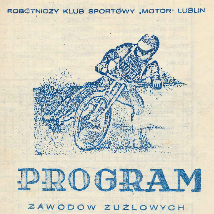 """Z archiwum Centrum Historii Sportu: """"Program meczu żużlowego Motor Lublin - Gwardia Łódź"""""""