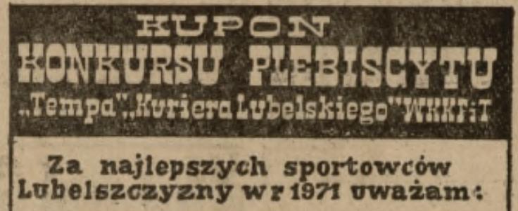 Nominowani w Plebiscycie na sportowca roku Lubelszczyzny za 1971 r.