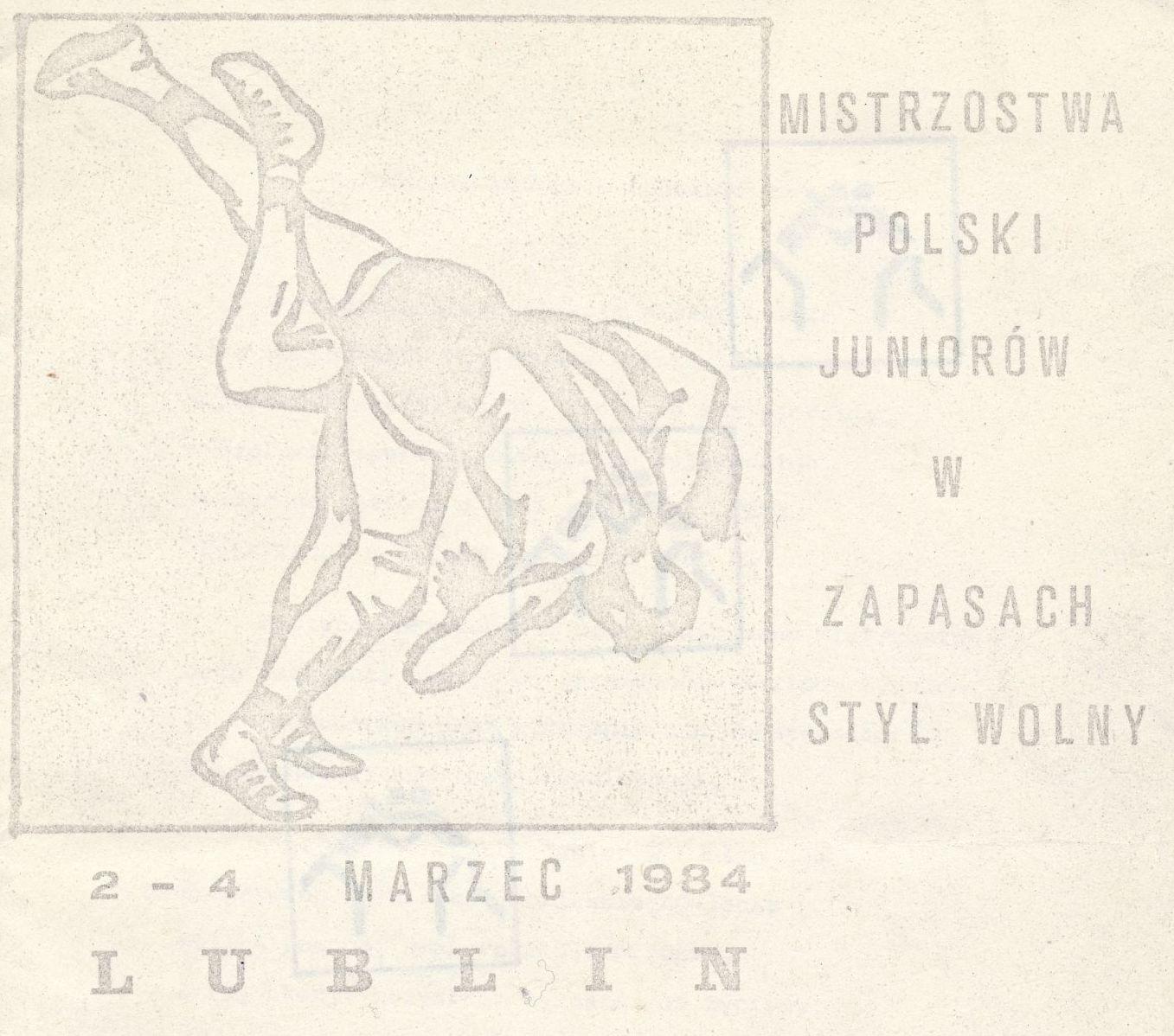 """Z archiwum Centrum Historii Sportu: """"Mistrzostwa Polski Juniorów w Zapasach. Lublin 1984"""""""