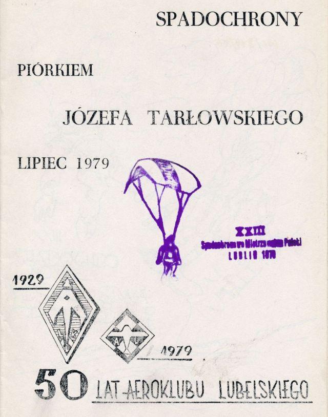"""Z archiwum Centrum Historii Sportu: """"Spadochrony piórem Józefa Tarłowskiego. Lipiec 1979"""""""