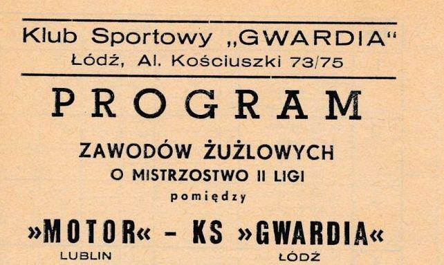 """Z archiwum Centrum Historii Sportu: program żużlowy """"Motor Lublin - Gwardia Łódź 26 września 1976"""""""