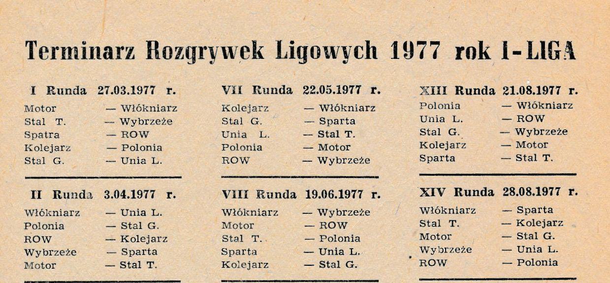 """Z archiwum Centrum Historii Sportu: """"Terminarz rozgrywek ligowych sezonu żużlowego 1977 r."""""""