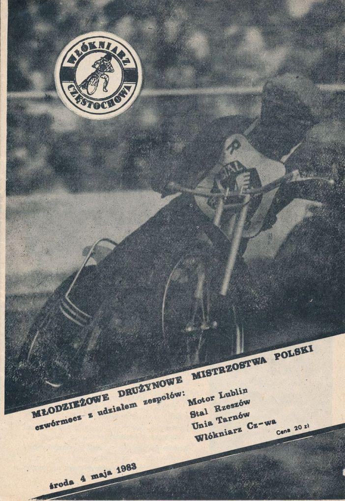 """Z archiwum Centrum Historii Sportu: program żużlowy """"Młodzieżowe Drużynowe Mistrzostwa Polski. 4 maja 1983 r."""""""