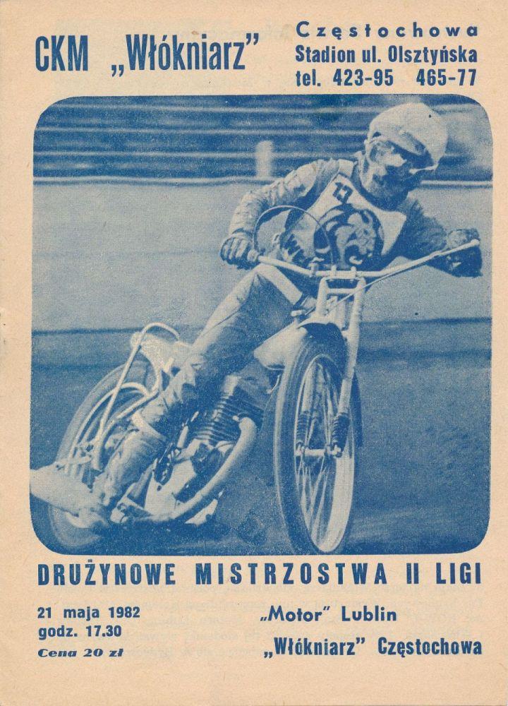 """Z archiwum Centrum Historii Sportu: program żużlowy """"Motor Lublin - Włókniarz Częstochowa. 21 maja 1982 r."""""""
