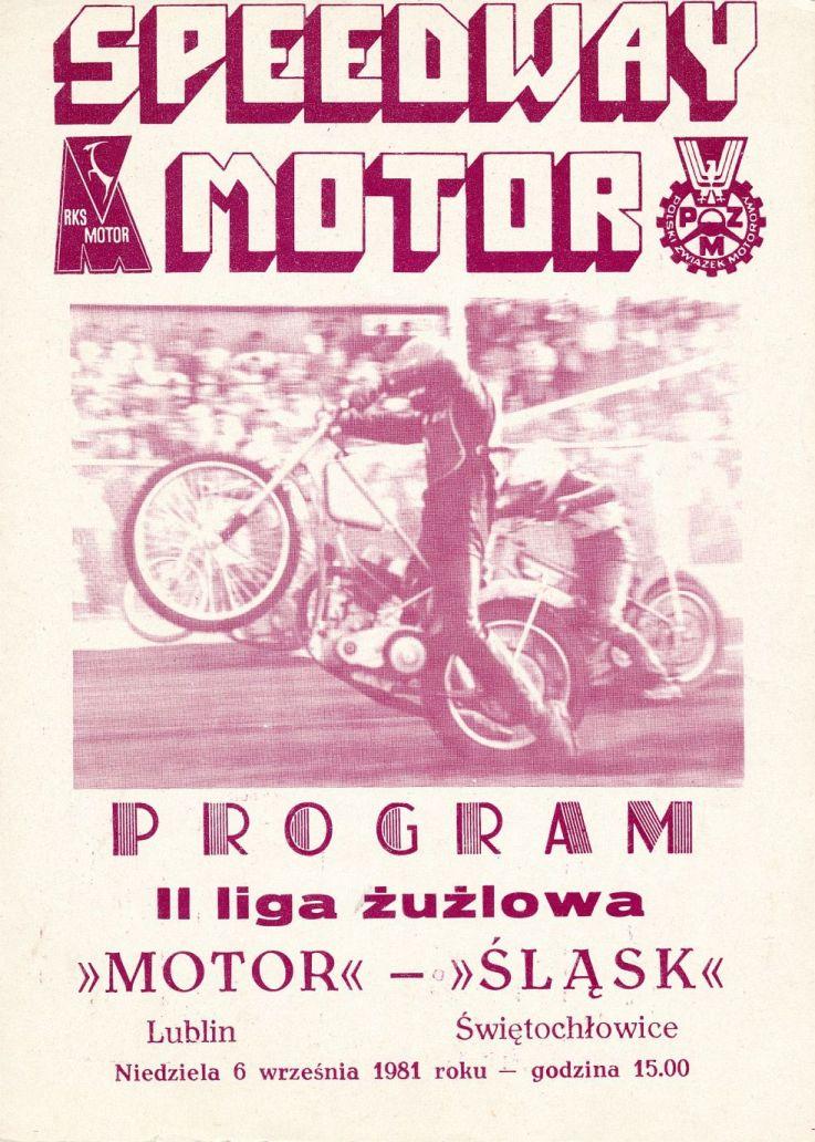 """Z archiwum Centrum Historii Sportu: program żużlowy """"Motor Lublin - Śląsk Świętochłowice. 6 czerwca 1981 r."""""""