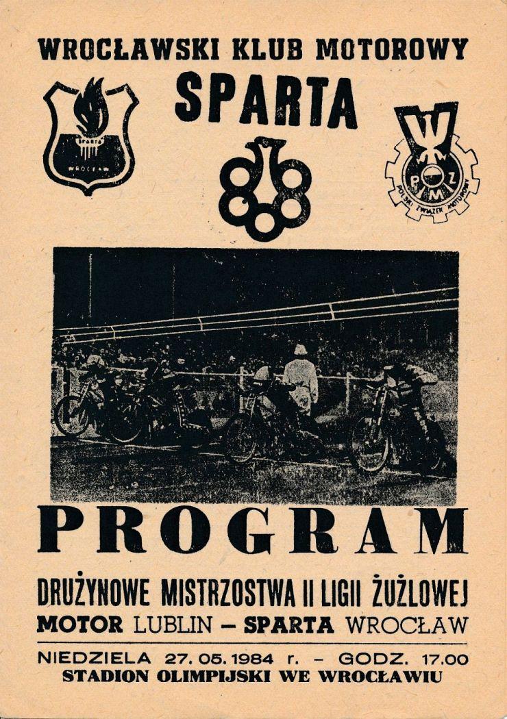 """Z archiwum Centrum Historii Sportu: program żużlowy """"Motor Lublin - Sparta Wrocław"""""""