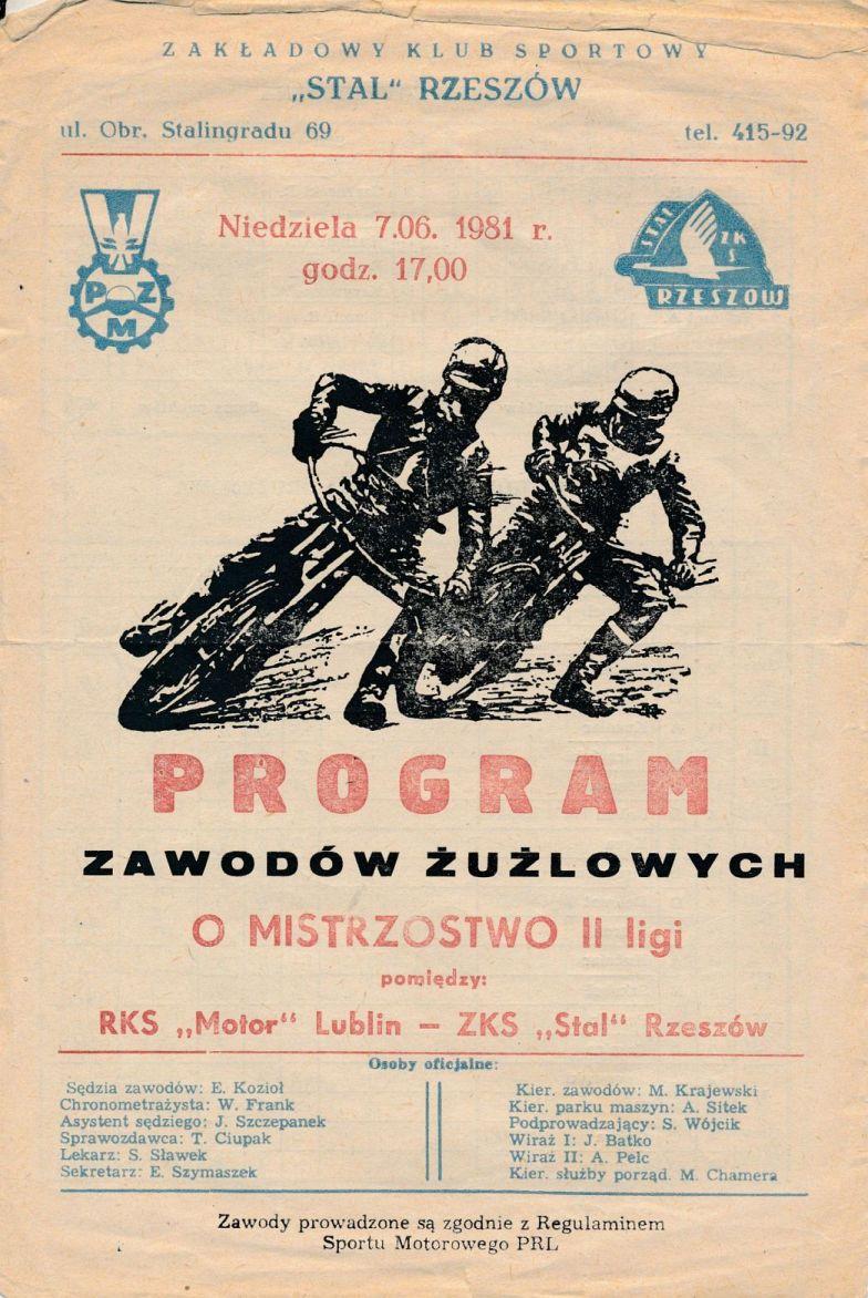 """Z archiwum Centrum Historii Sportu: program żużlowy """"Motor Lublin - Stal Rzeszów. 7 czerwca 1981 r."""""""