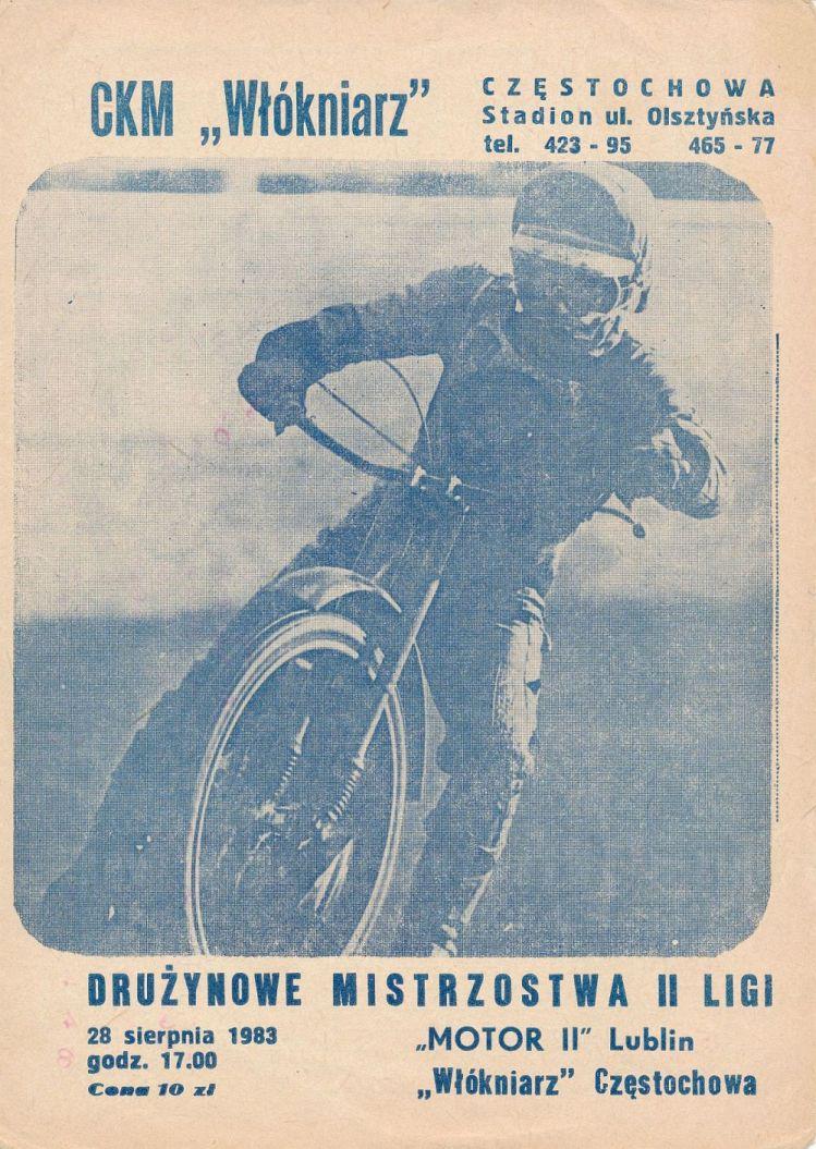 """Z archiwum Centrum Historii Sportu: program żużlowy """"Motor Lublin - Włókniarz Częstochowa. 28 sierpnia 1983 r."""""""