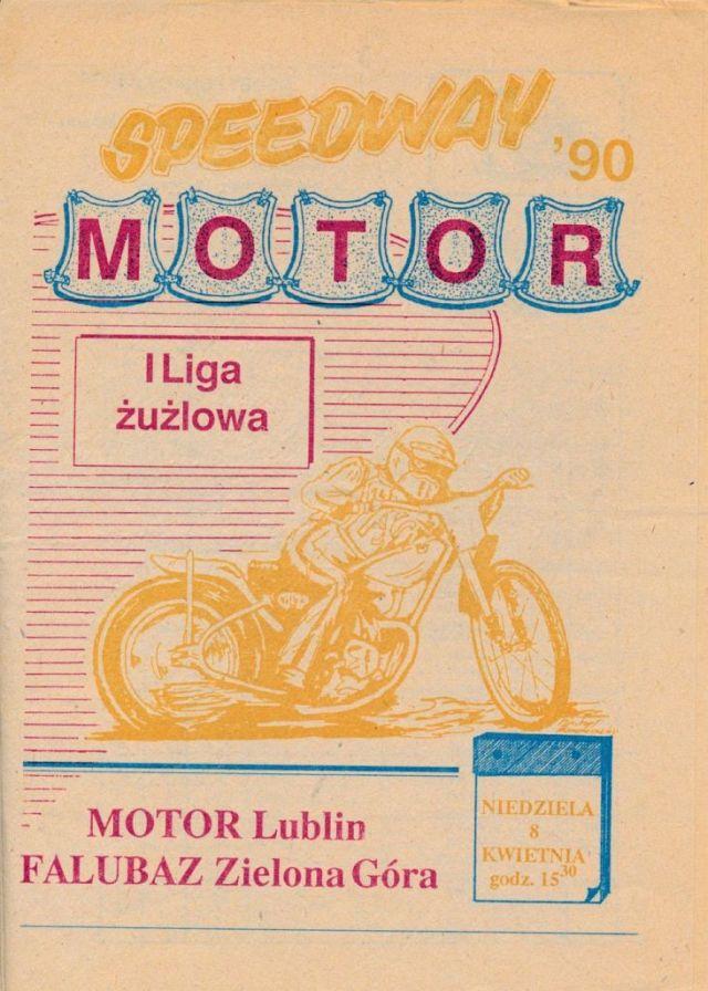 """Z archiwum Centrum Historii Sportu: program żużlowy """"Motor Lublin - Falubaz Zielona Góra. 8 kwietnia 1990"""""""