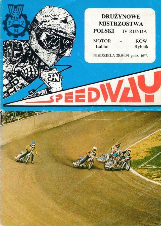 """Z archiwum Centrum Historii Sportu: program żużlowy """"DMP Motor Lublin - ROW Rybnik 23 kwietnia 1991 r."""""""