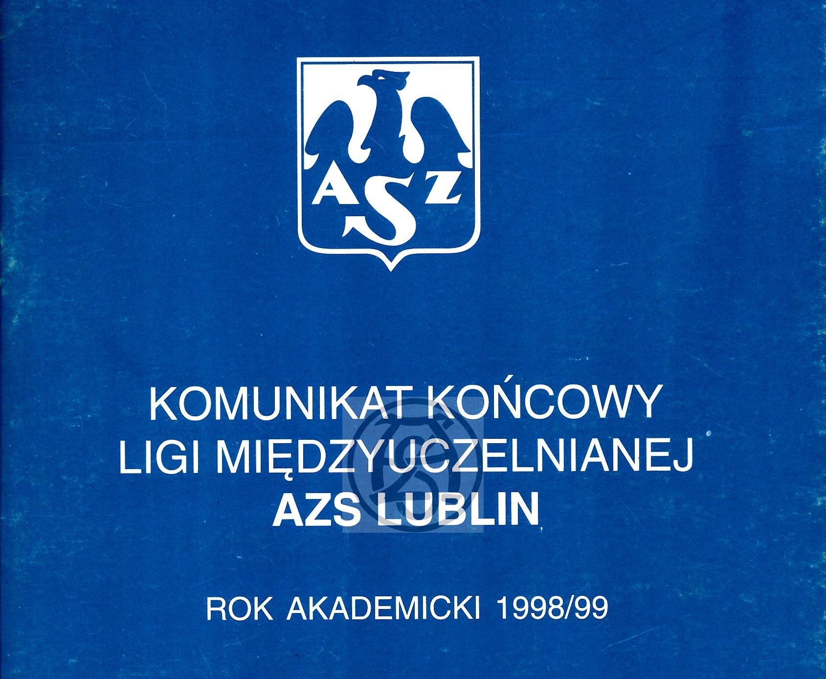 """Z archiwum Centrum Historii Sportu: """"Komunikat końcowy Ligi Międzyuczelnianej AZS Lublin 1998/1999"""""""